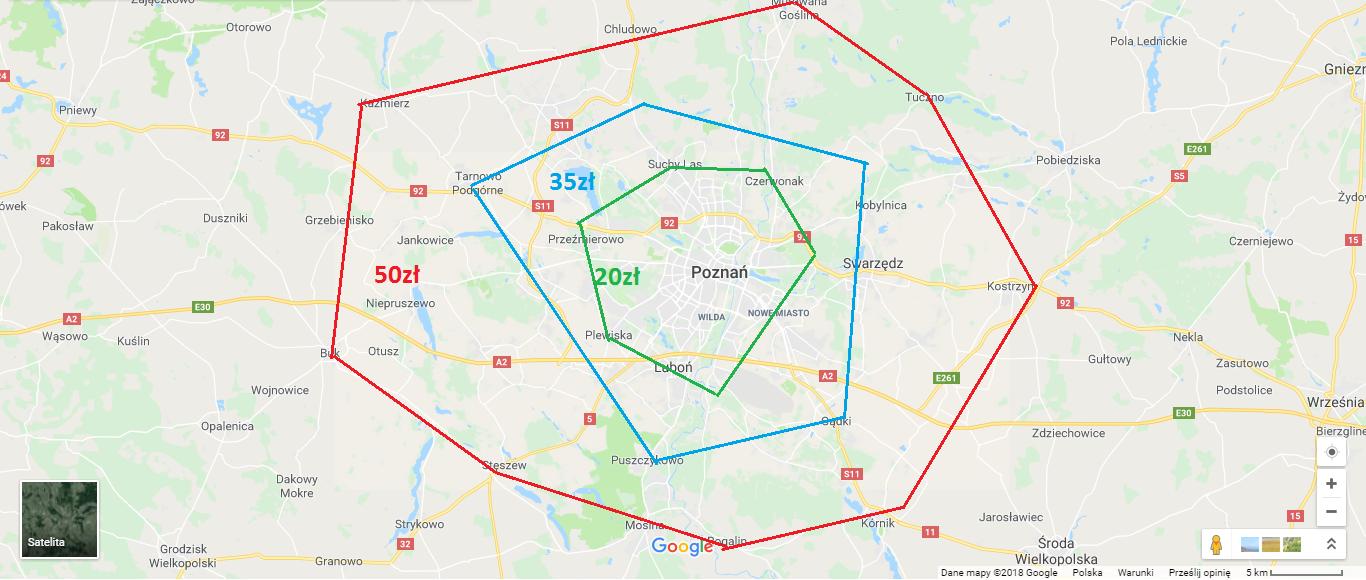 Strefy dowozu kwiatów Poznań